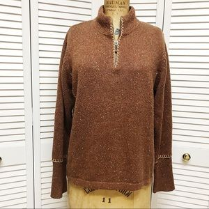 WOMENS WOOLRICH BROWN QUARTER ZIP